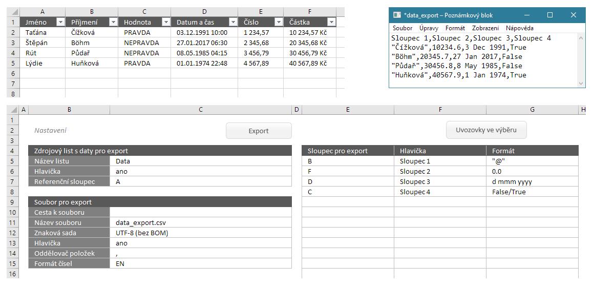 CSV Maker - export dat z Excelu pod kontrolou