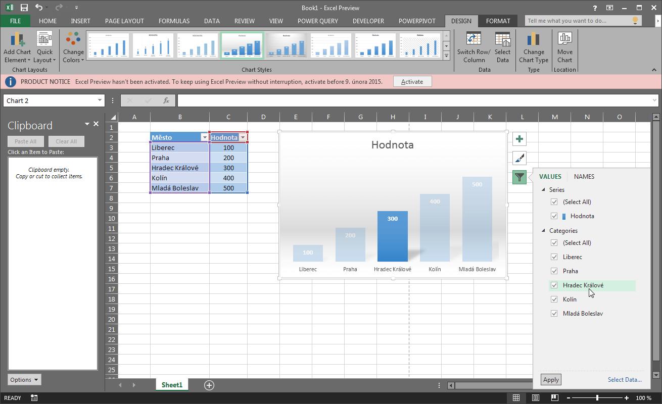 Excel 16 - okno