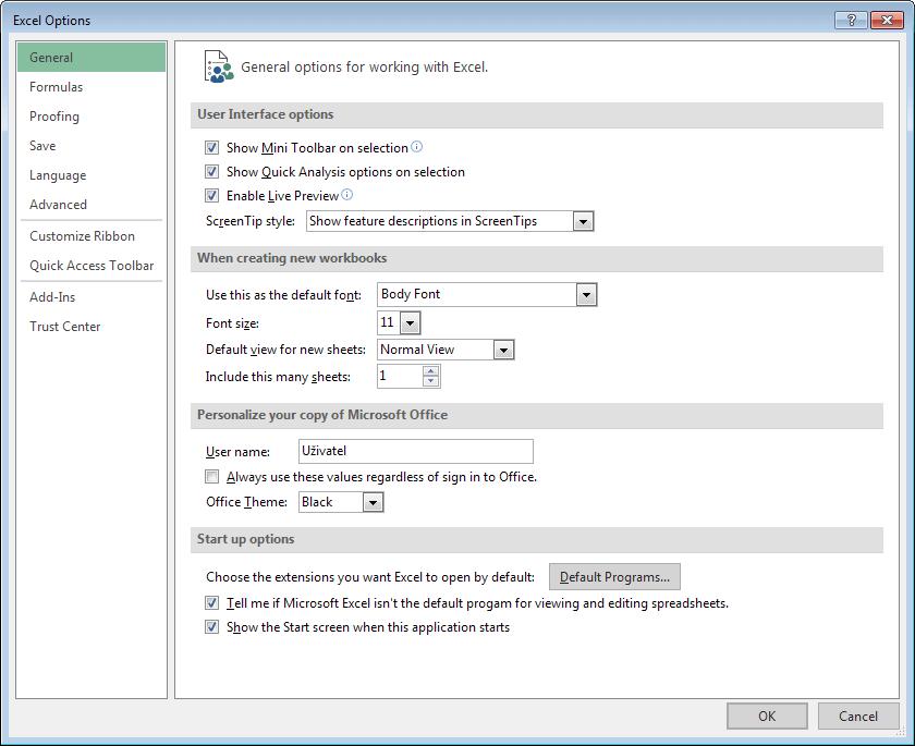 Excel 16 - okno Možnosti