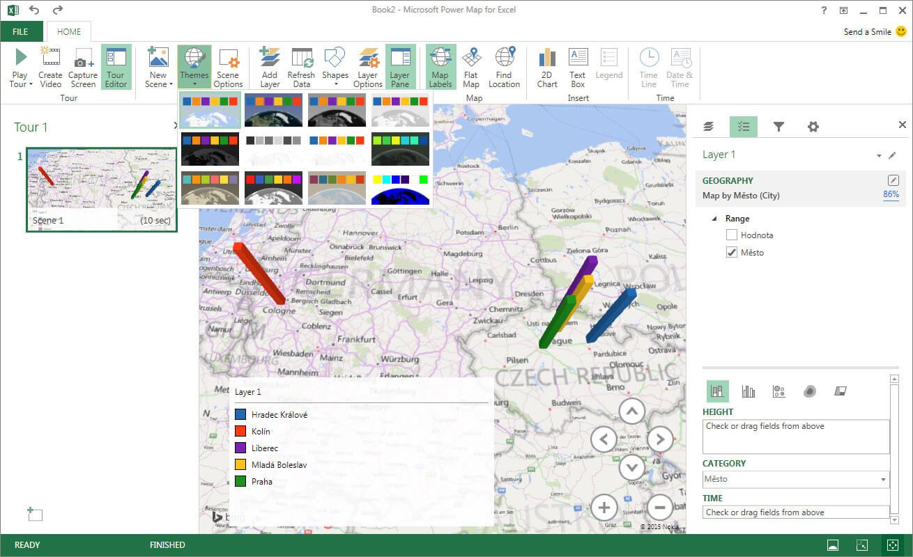 Excel 16 - Power Map (Kolín bez specifikace země odkazuje do Německa)