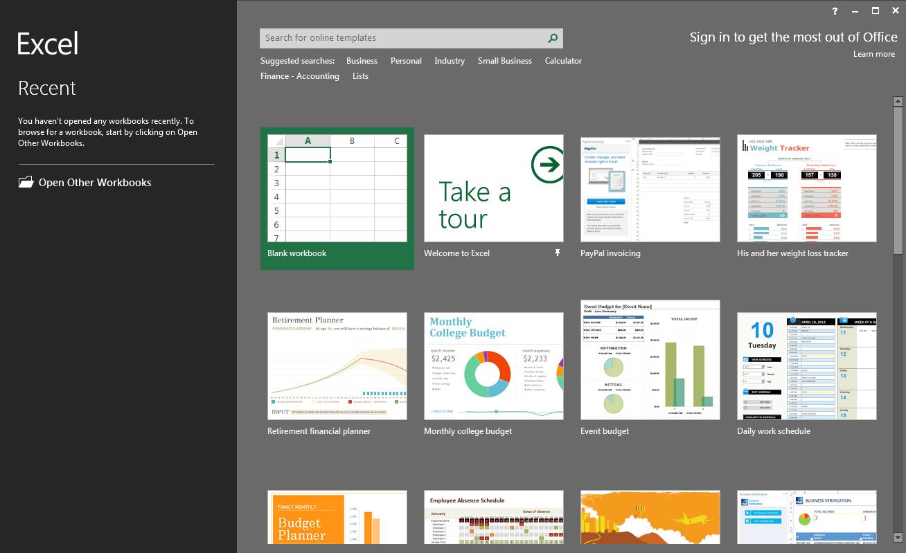 Excel 16 - úvodní okno