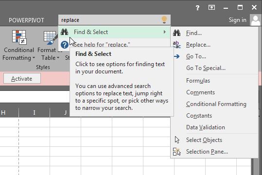 """Excel 16 - vyhledávací pole """"Tell me"""""""