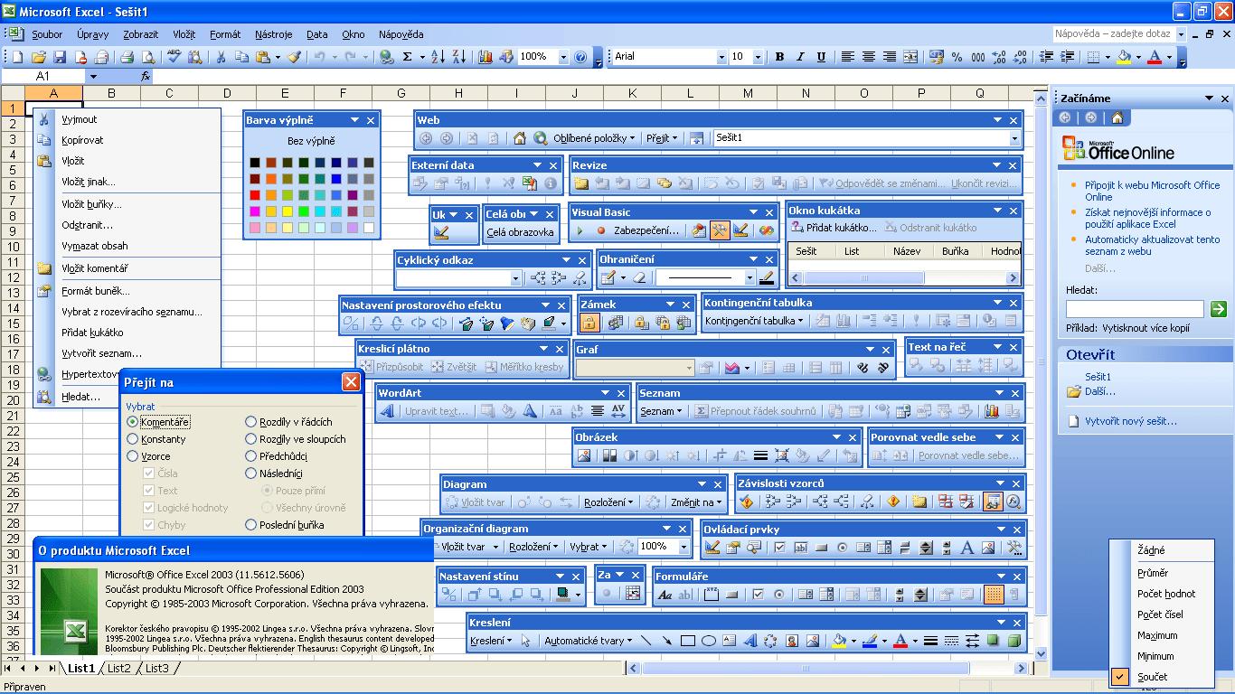 Excel 2003 - okno