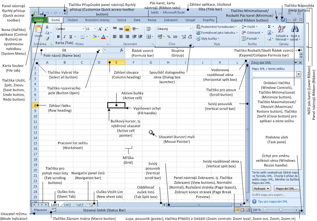 Excel 2010 - popis okna (CZ, EN)