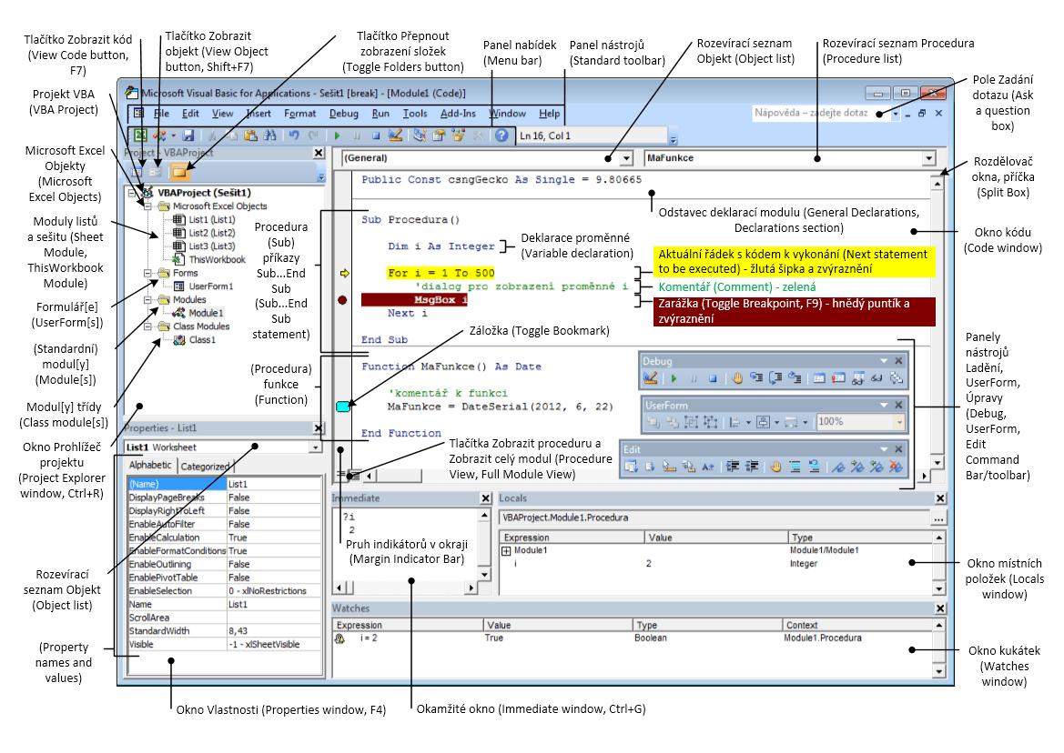 Editor VBA (VBE) - popis okna