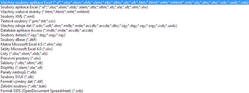 Excel 2010 - podporované formáty při načítání souboru