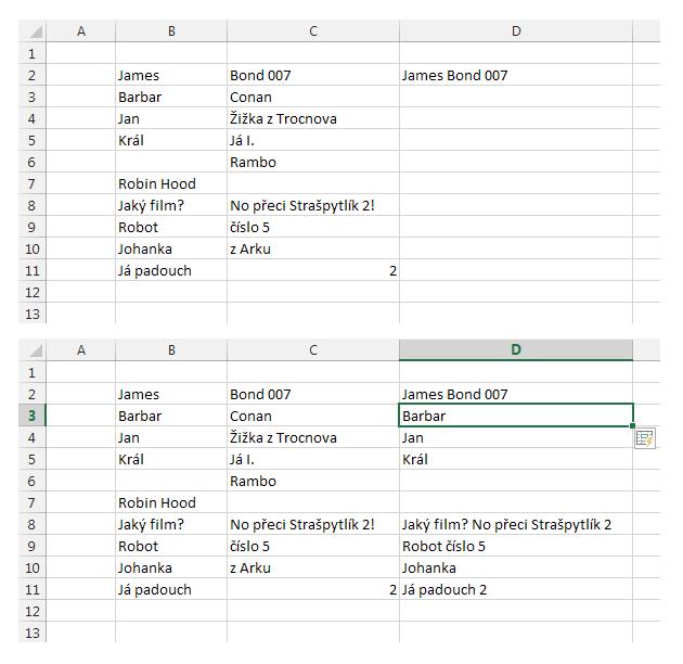 Excel 2013 - dynamické doplňování