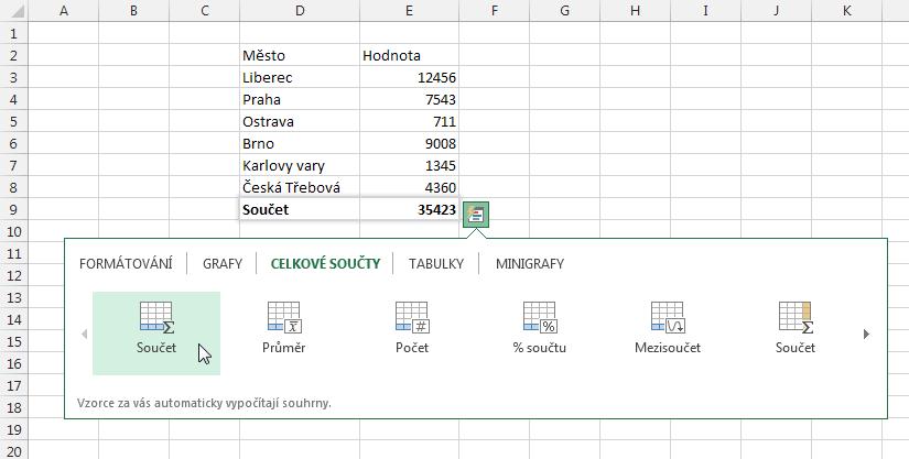 Excel 2013 - rychlá analýza