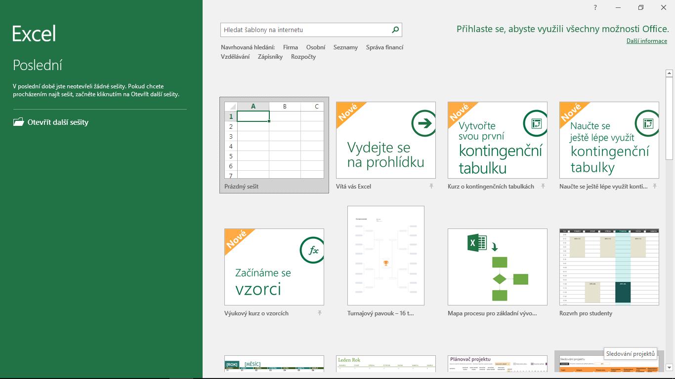 Excel 2016 - úvodní obrazovka