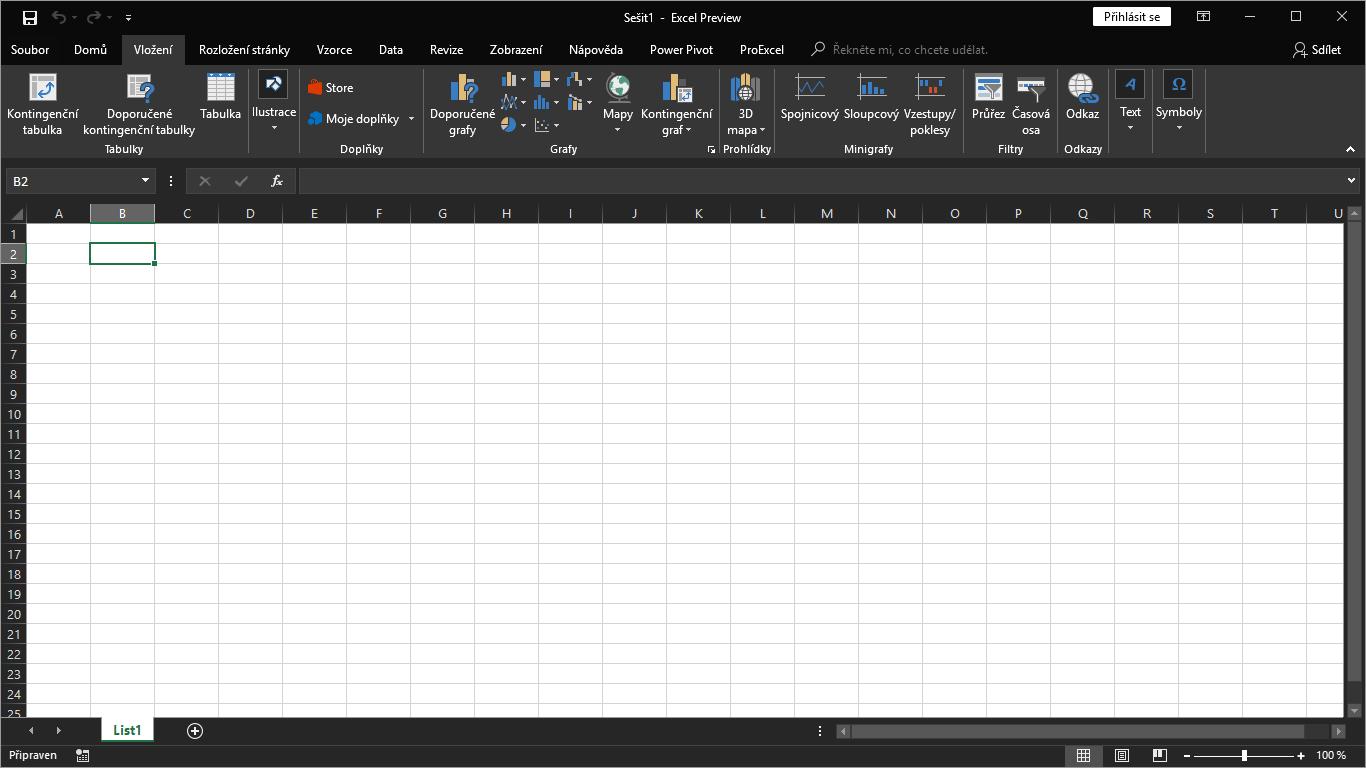 Excel 365 - černý motiv