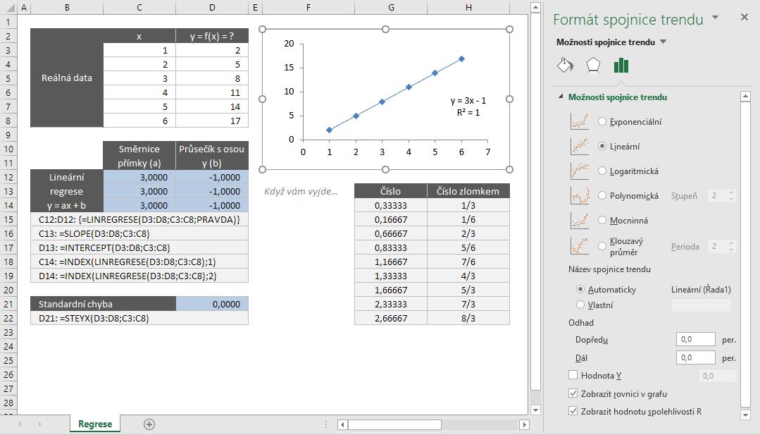 Excel - lineární regrese