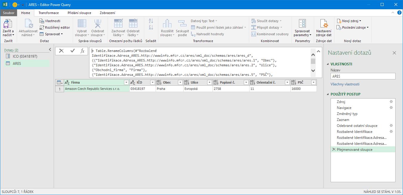 Excel - výsledek v PowerQuery