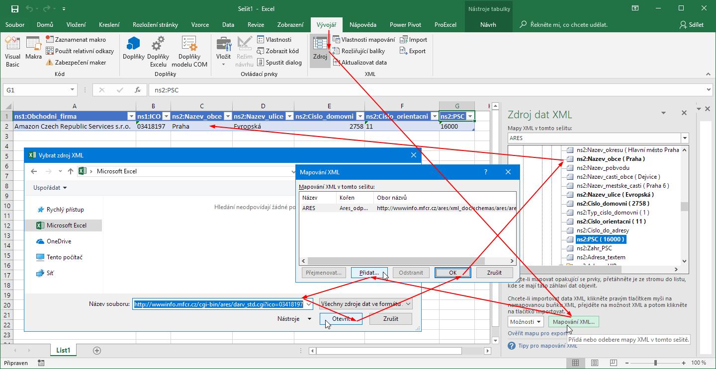 Excel - import dat XML prostřednictvím karty Vývojář