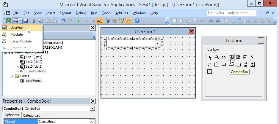 ComboBox na formuláři UserForm