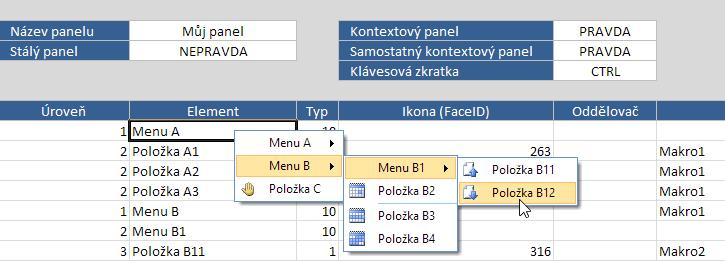 Samostatné kontextové menu