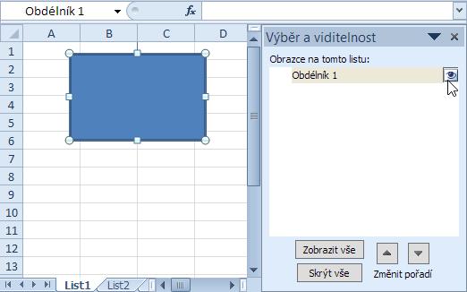 Grafický objekt - Podokno výběru