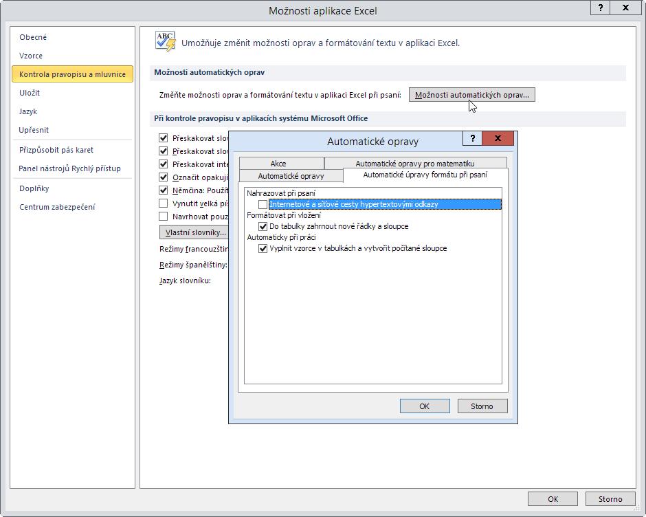 Odstavení automatického zpracování hypertextových odkazů