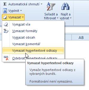 Odstranění hypertextového odkazu