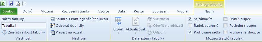 Kontextová karta Nástroje tabulky