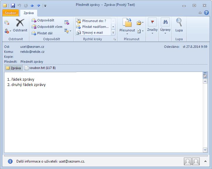 CDO - příchozí e-mail