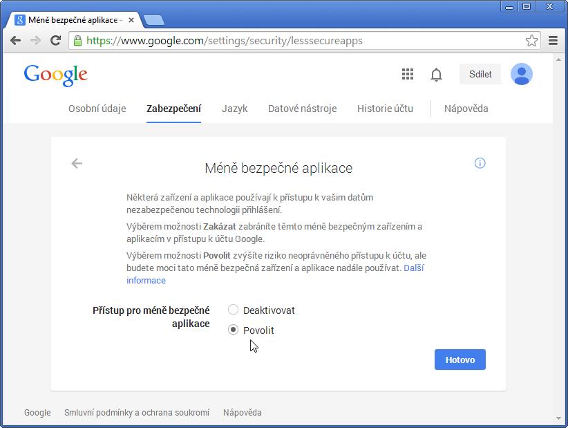 Gmail - změna nastavení