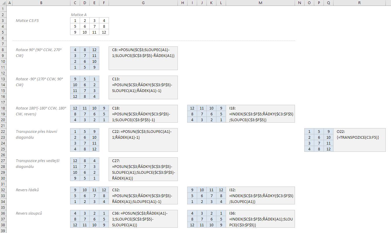 Rotace a transpozice oblasti buněk s pomocí vzorců Excelu
