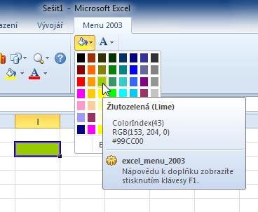 Excel 2010 - klasická paleta barev