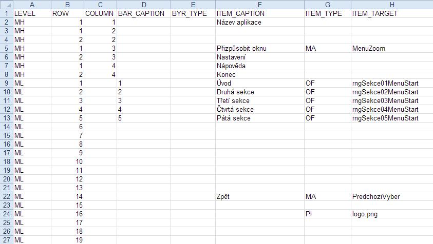 Moderní grafické menu v Excelu - náhled do nastavení