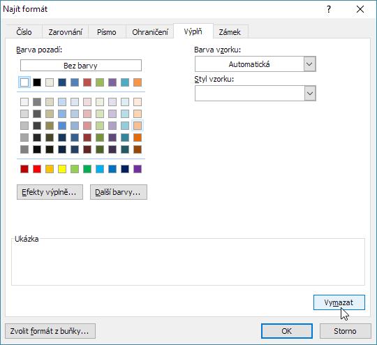 Dílčí reset nastaveného formátu pro záložku - tlačítko Vymazat