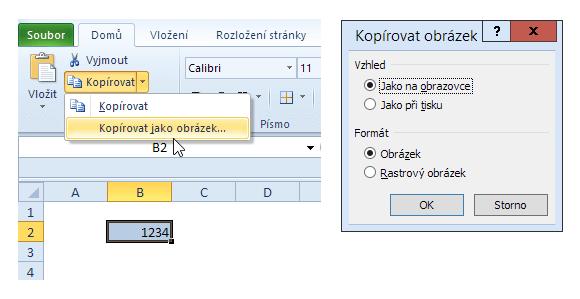 Zkopírování buňky do schránky jako (vektorový) obrázek