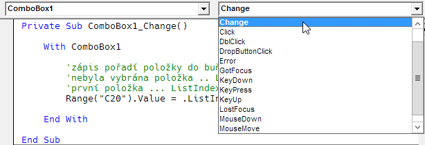 ComboBox na listu v editoru VBA