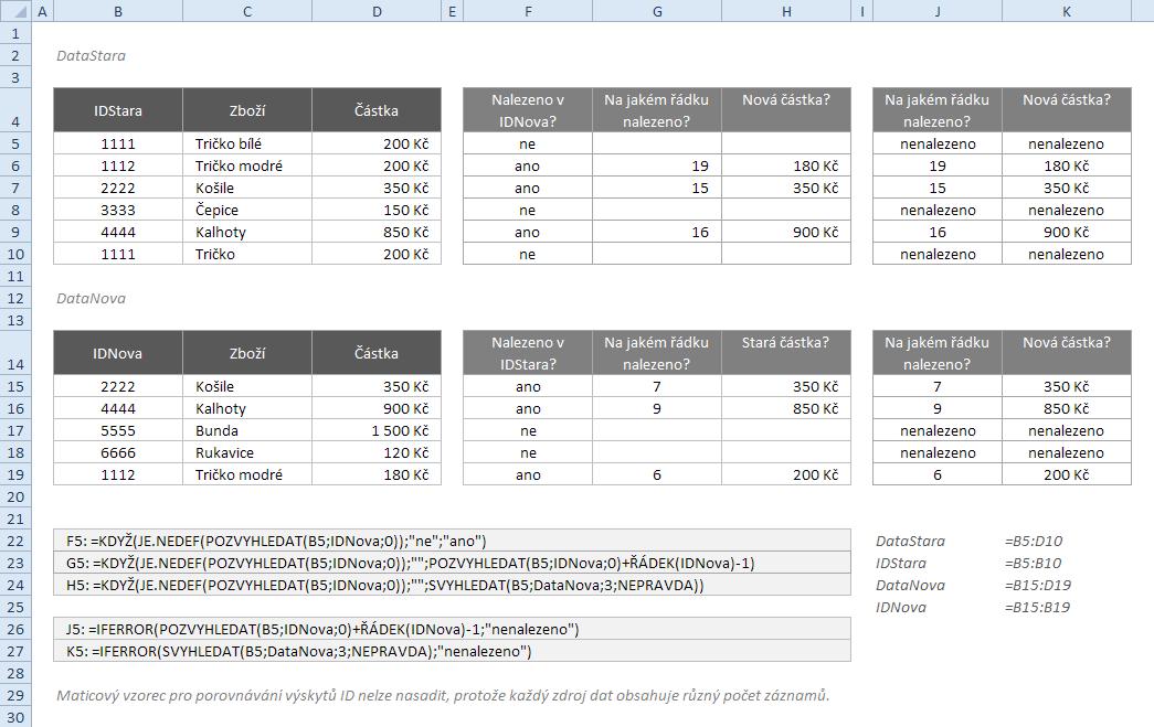 Porovnání seznamů - vyhledávací funkce
