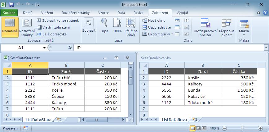 Sešity s daty pro porovnání