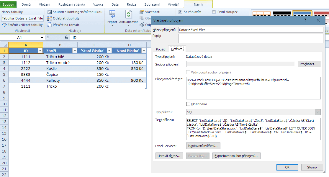 Výsledek Microsoft Query - Vlastnosti připojení
