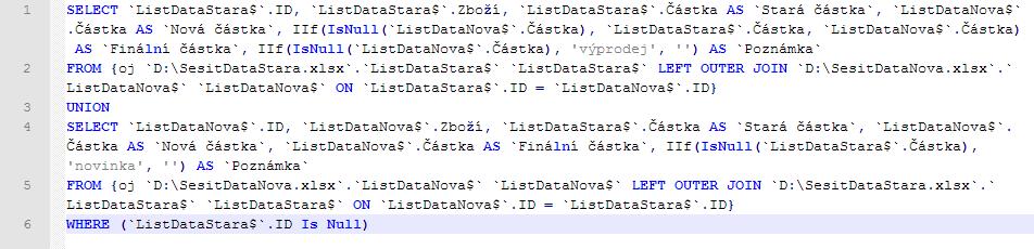 Konečná podoba SQL dotazu