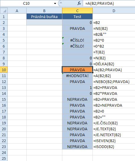 Prázdná buňka a funkce listu - 3. část