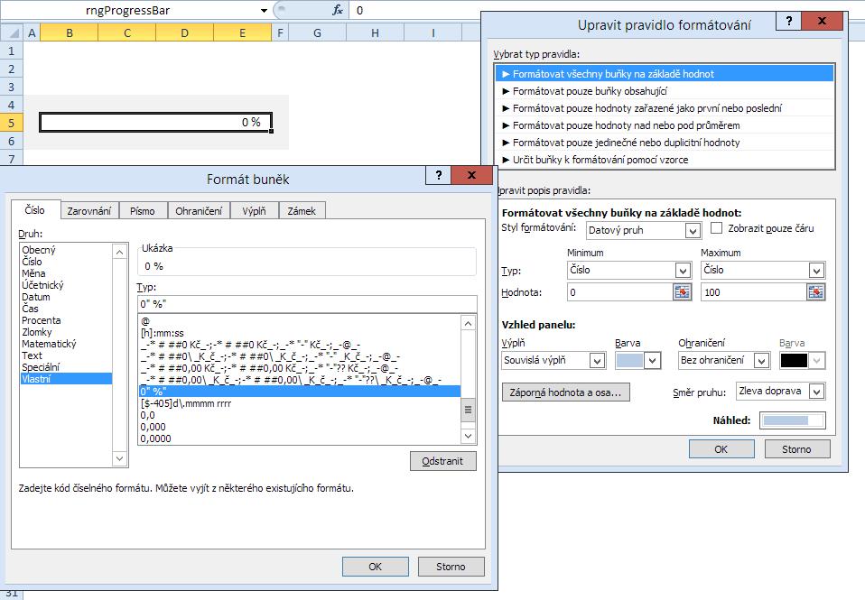 Excel - simulace ProgressBaru buňkou a podmíněným formátem