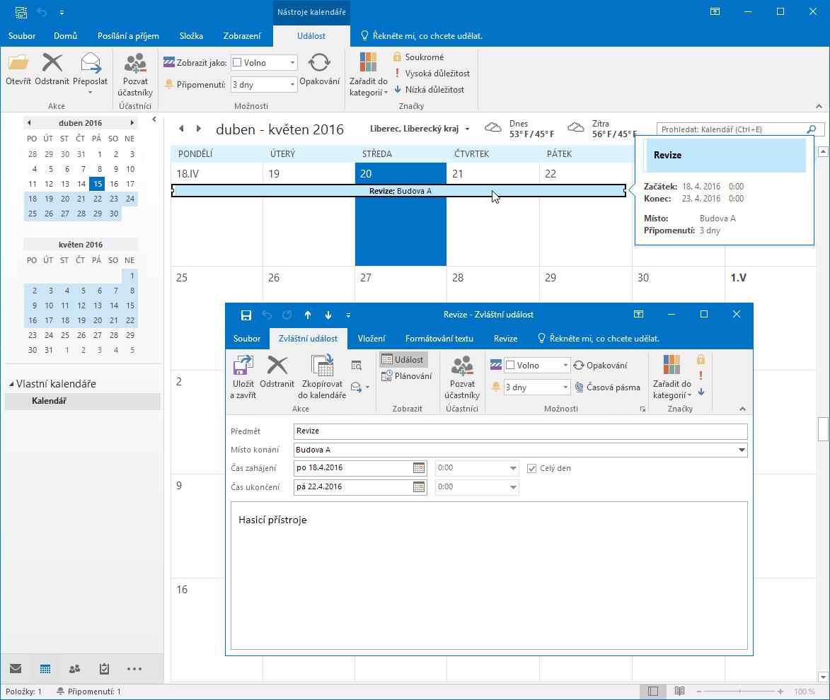 Propojení Excel - Outlook - událost
