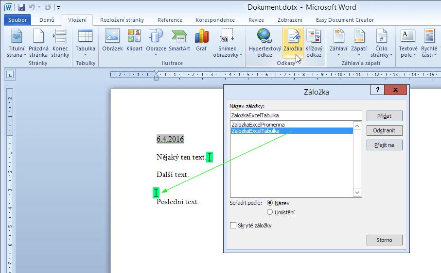 Microsoft Word - práce se záložkami
