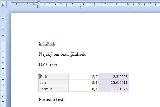 Zdrojová data vložená do Wordu