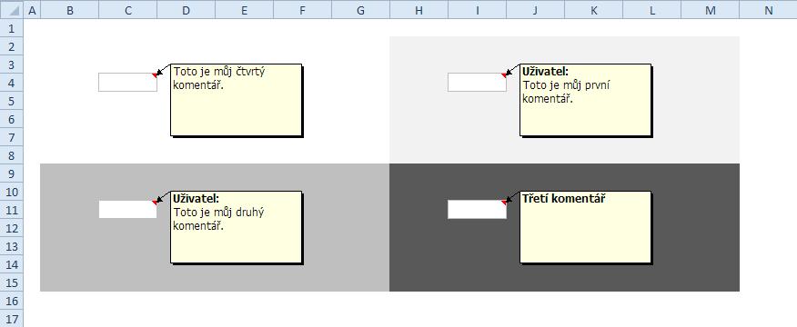 Původní komentáře (Excel 2003)