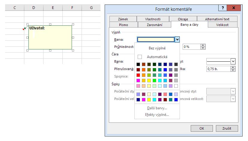 Komentář v Excelu 2016