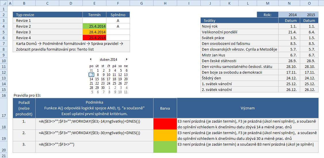 Excel - Upozorňování na vypršení termínu