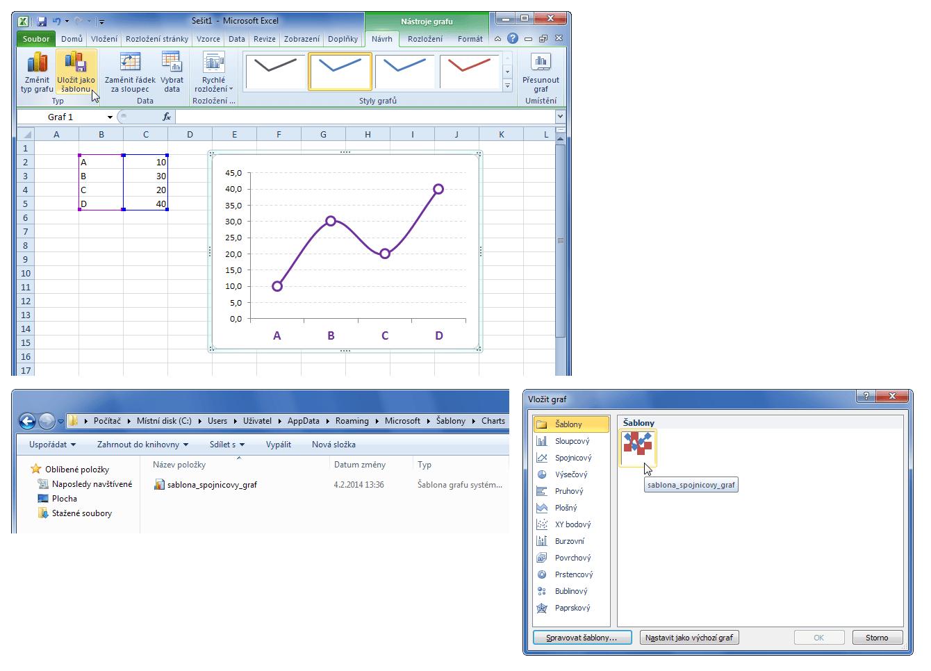 Šablona grafu v Excelu