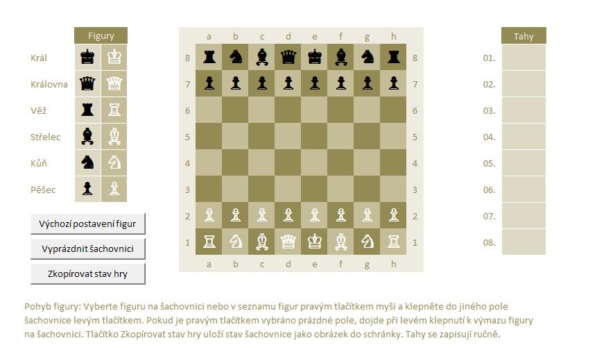 Šachové koncovky v Excelu