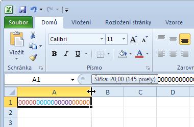 Šířka buňky - units a pixely