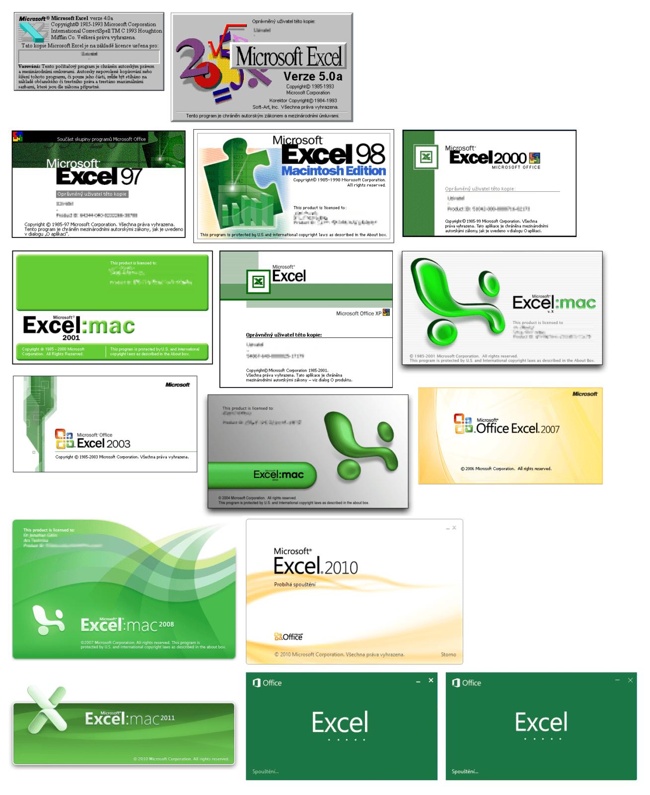 Excel - splash screens