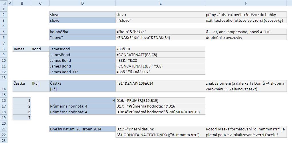 Spojování textových řetězců na listu