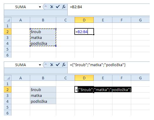 Tip na zřetězení (dílčí výpočet s pomocí F9)
