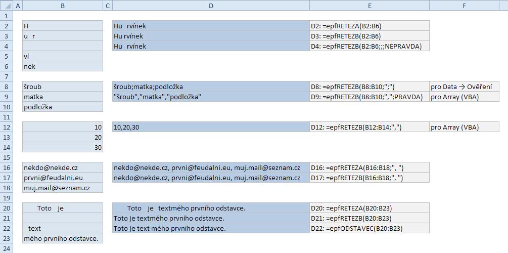 Vlastní funkce pro spojování řetězců